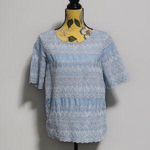 Gap Eyelet Chambray Scalloped Sleeve Shirt Small